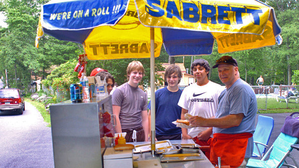 Serving up hot dogs at Otter Lake Camp  Resort