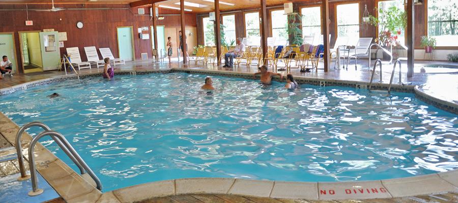 Enjoying the indoor pool at Otter Lake Camp  Resort